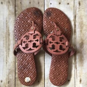 Tory Burch Miller Marion Quilted Brown Sandals 9